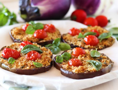 Melanzane gratinate al forno con pomodorini