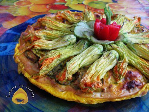 Torta salata con zucchine e fiori