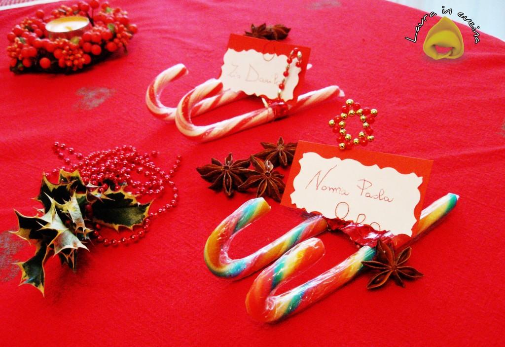 Candy canes segnaposti natalizi