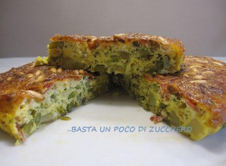 Frittata al forno di asparagi patate e speck