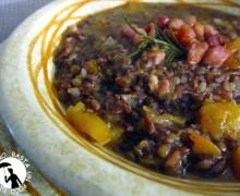 Risotto alla zucca con riso rosso selvaggio,lenticchie e pancetta affumicata