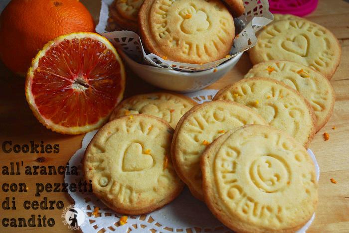 Cookies all'arancia con pezzetti di cedro candito