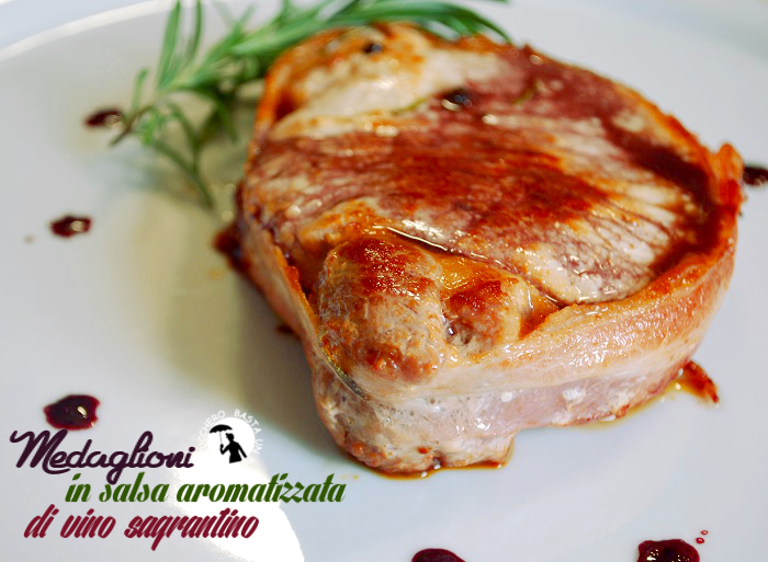 medaglioni in salsa aromatizzata di vino sagrantino