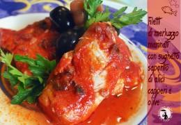 Filetti di merluzzo marinati con sughetto saporito di alici capperi e olive