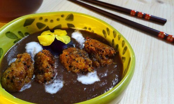 Crema di carote viola con polpettine di quinoa