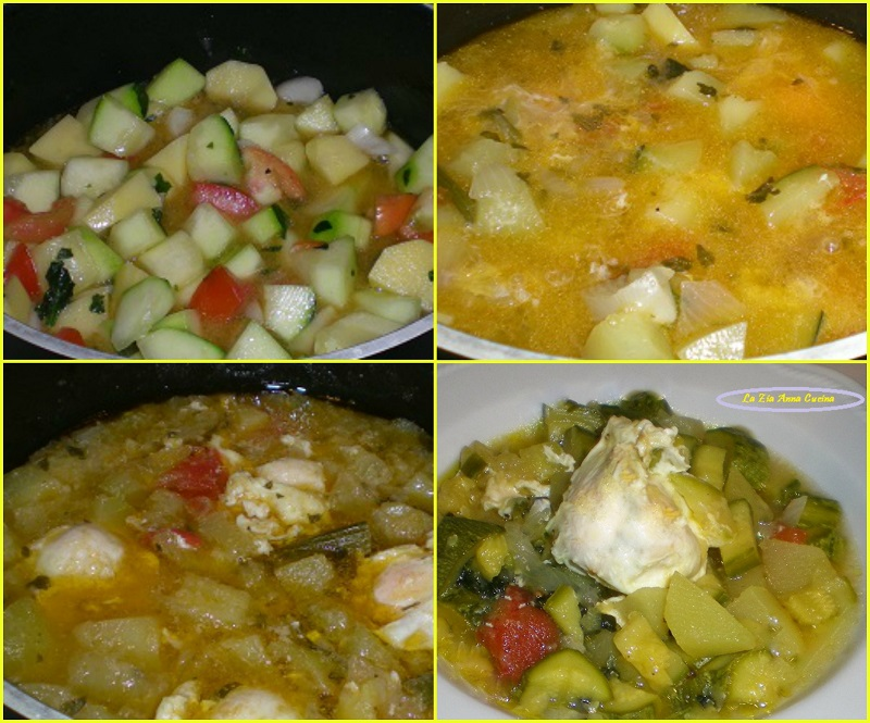 zucchine con uova in camicia Collage