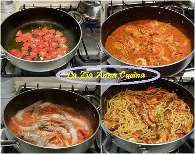 spaghetti con i gamberi Collage