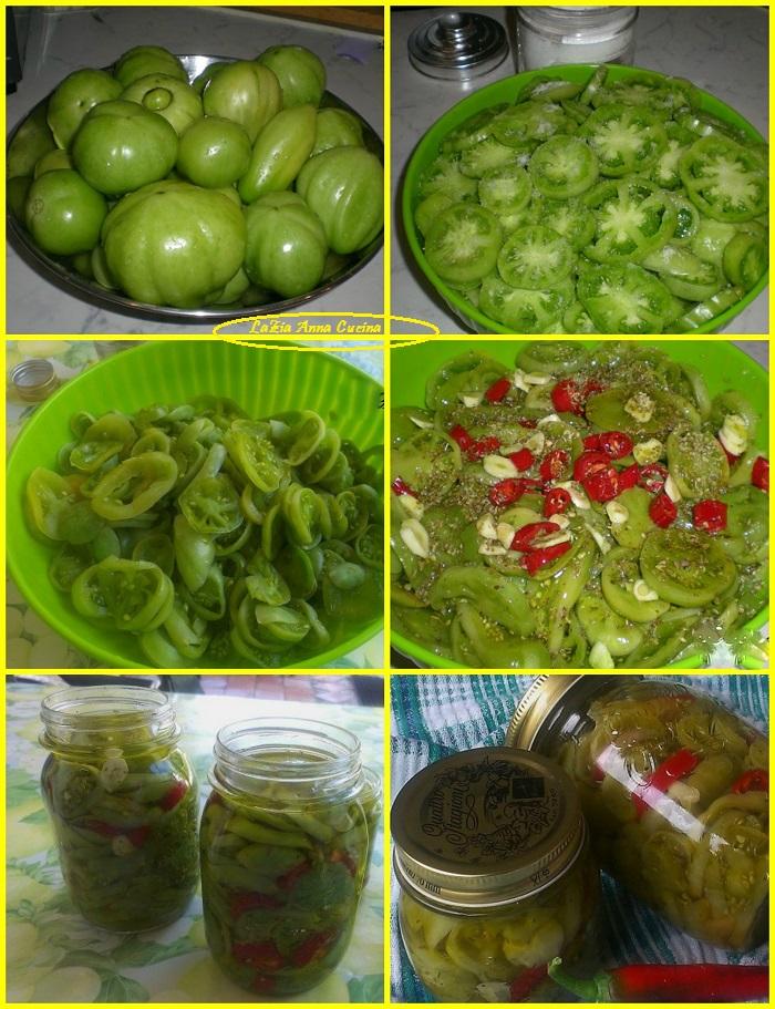 pomodori verdi sott'olio Collage
