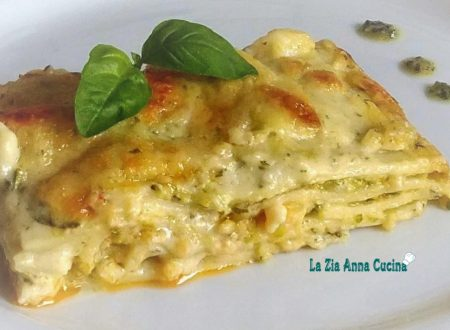 Lasagne al ragù di gamberi e zucchine con besciamella al pesto
