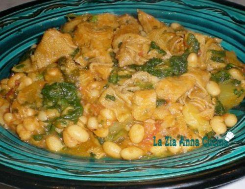 Trippa e fagioli con foglie di spinaci e curcuma
