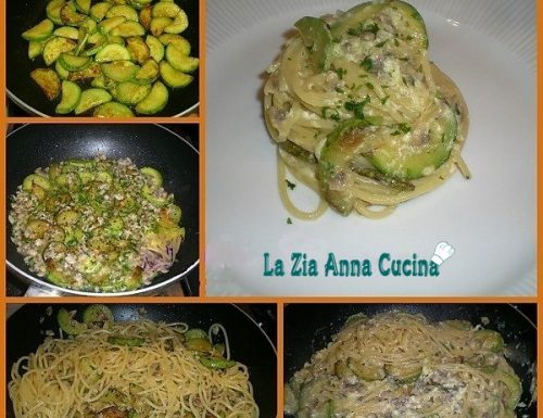 Spaghetti alla carbonara di vongole e zucchine