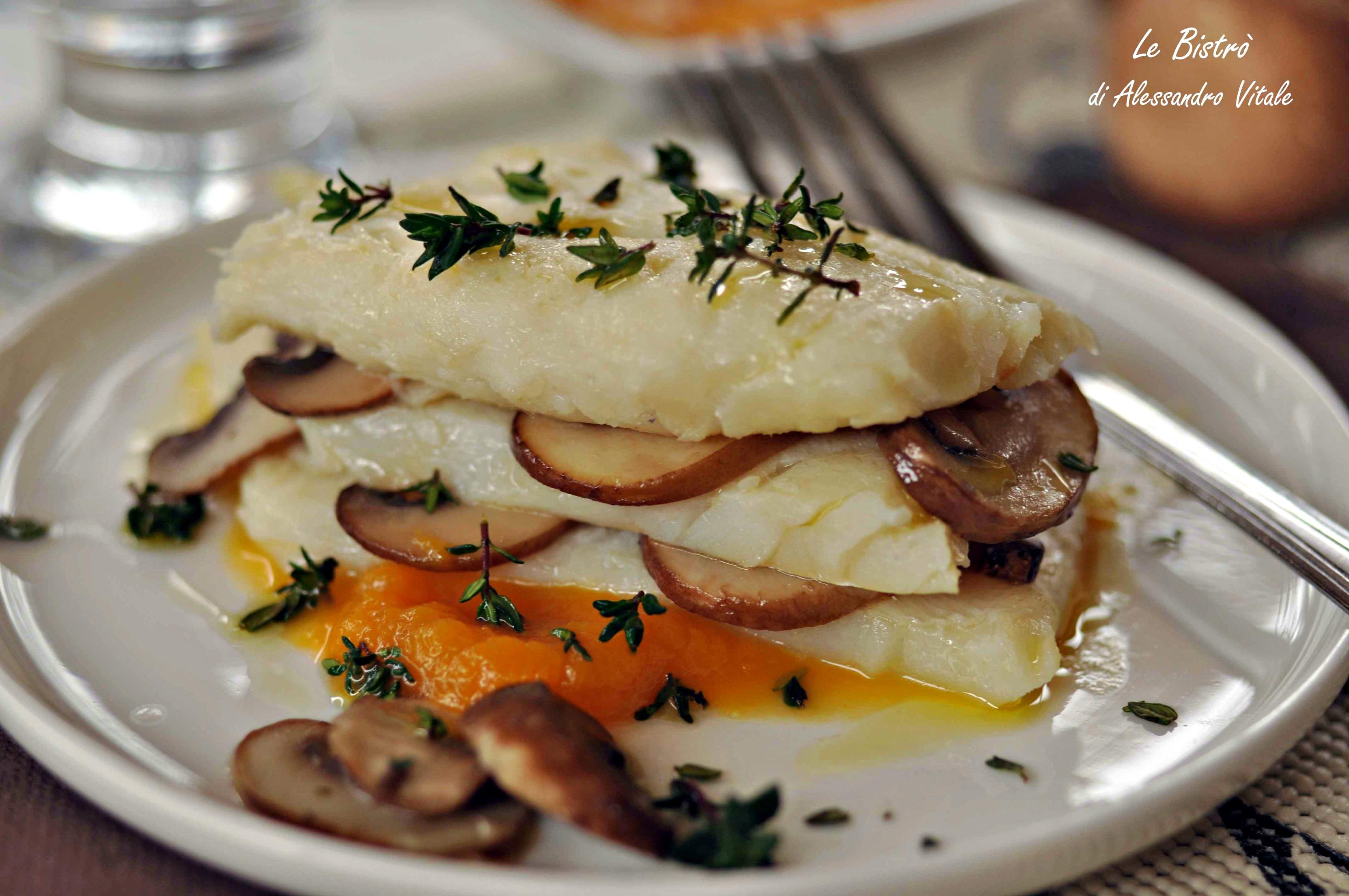 Millefoglie di baccalà con zucca e funghi, secondo piatto