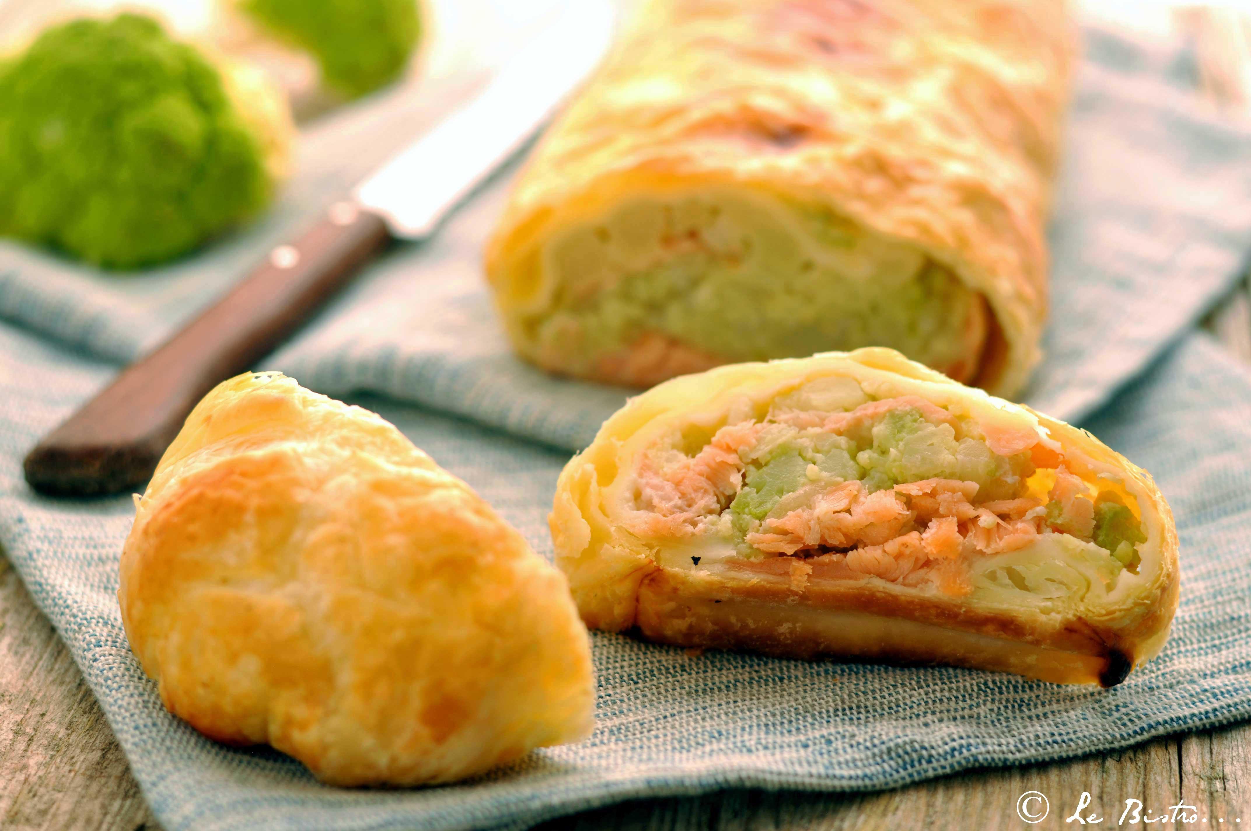Strudel salato ai broccoli e salmone