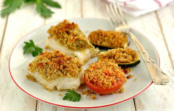 Merluzzo gratinato con verdure alla marchigiana
