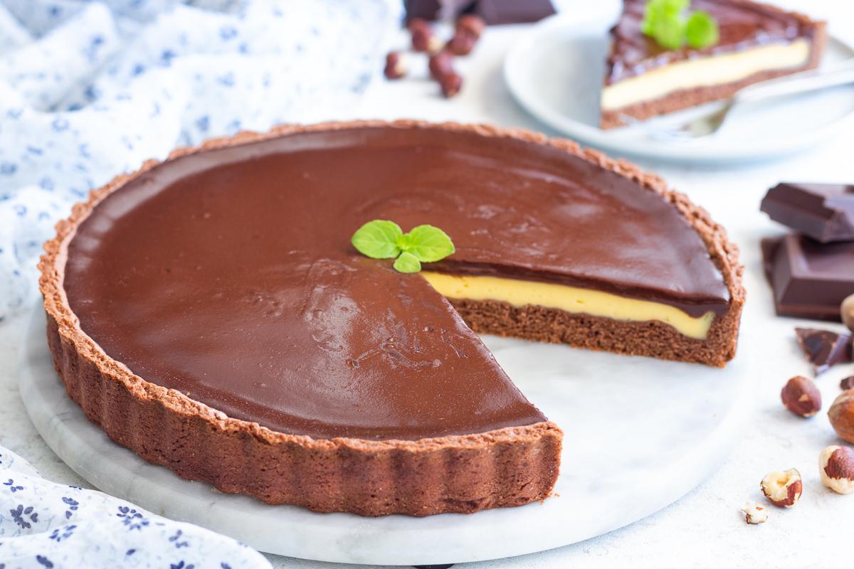 Crostata alla crema e cioccolato
