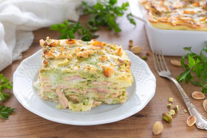 Lasagne al salmone e pistacchio