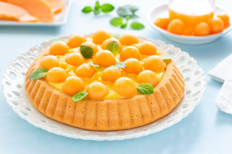 Crostata morbida con crema e melone