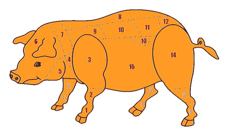 I tagli della carne suina