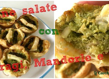Tortine salate con Asparagi, Mandorle e Pesto