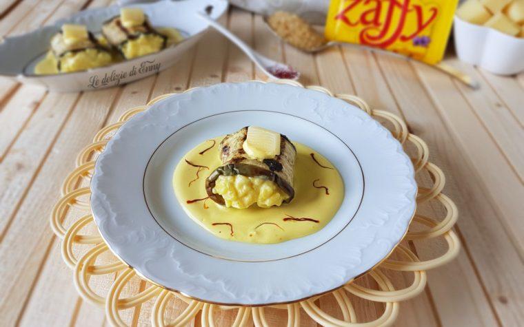 Involtini di melanzane ripieni di risotto allo zafferano e Asiago