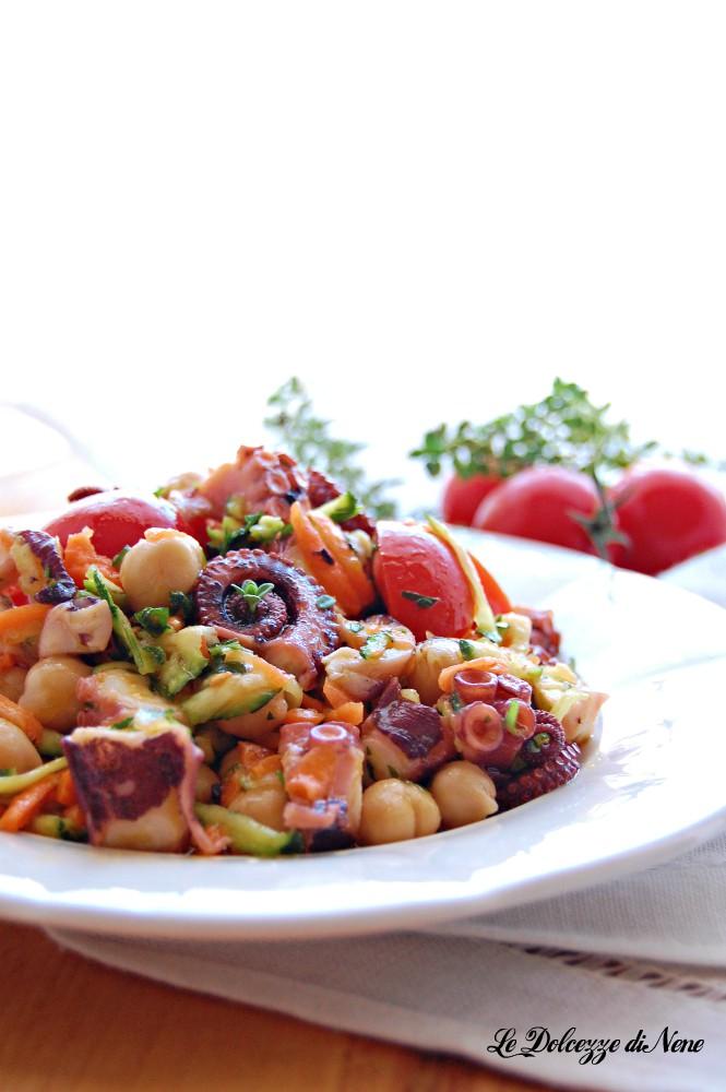 insalata di polpo con ceci e verdure