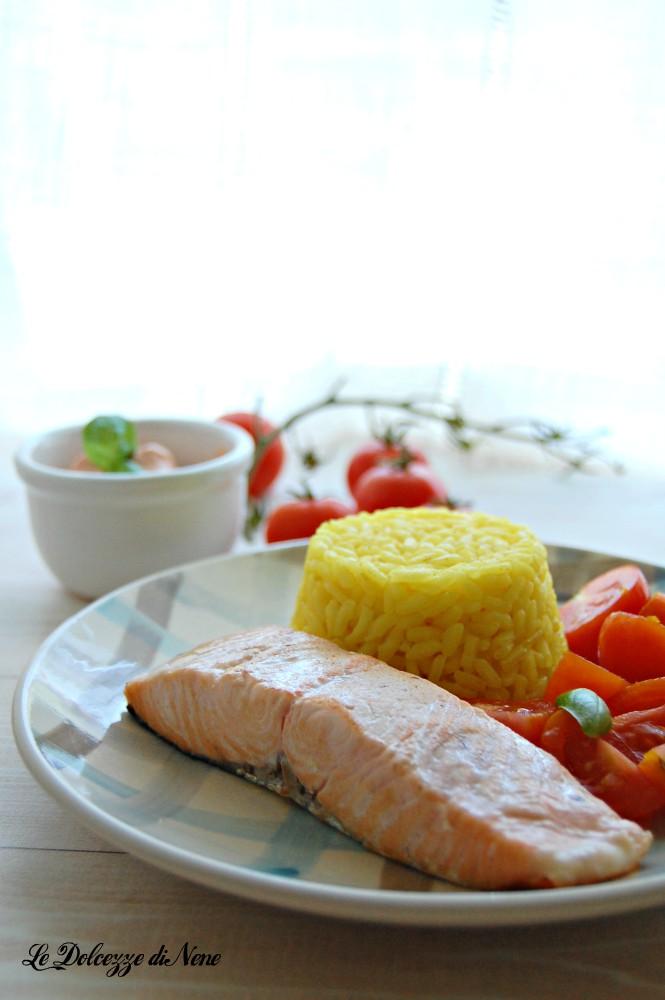 salmone con riso e creme fraiche