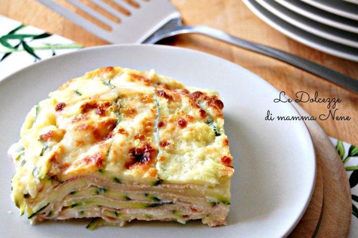 Lasagne di zucchine con prosciutto