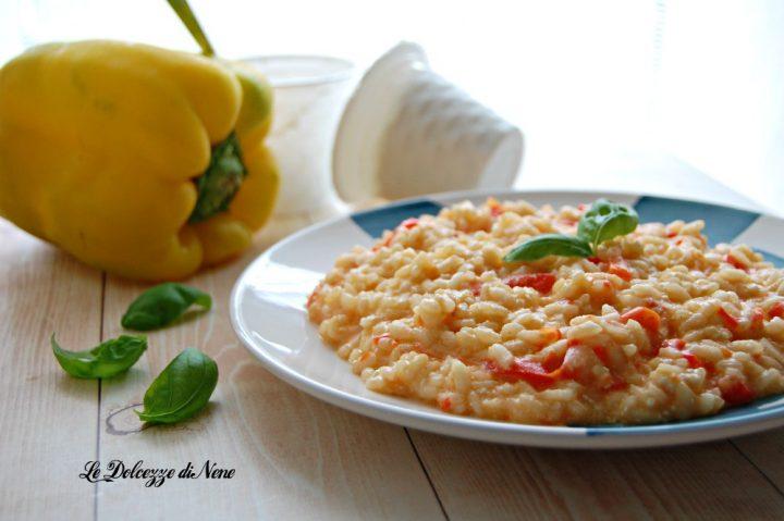 risotto con peperoni ricotta e basilico