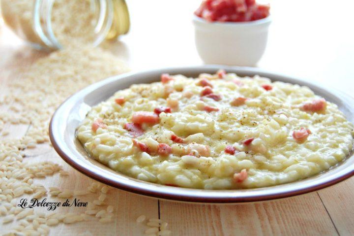 risotto con pancetta e porri