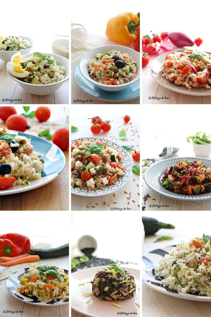 insalate fredde di riso e cereali