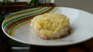 risotto salmone e ananas