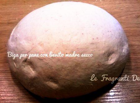Biga per pane con  lievito madre secco