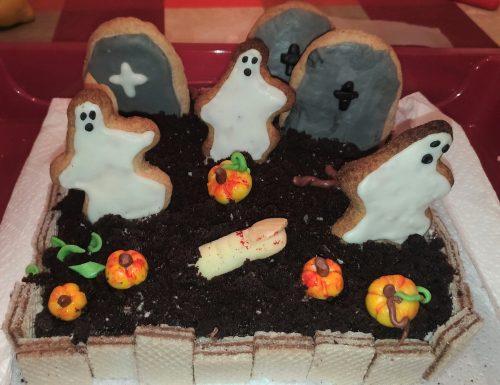 Torta brownie cimitero di Halloween