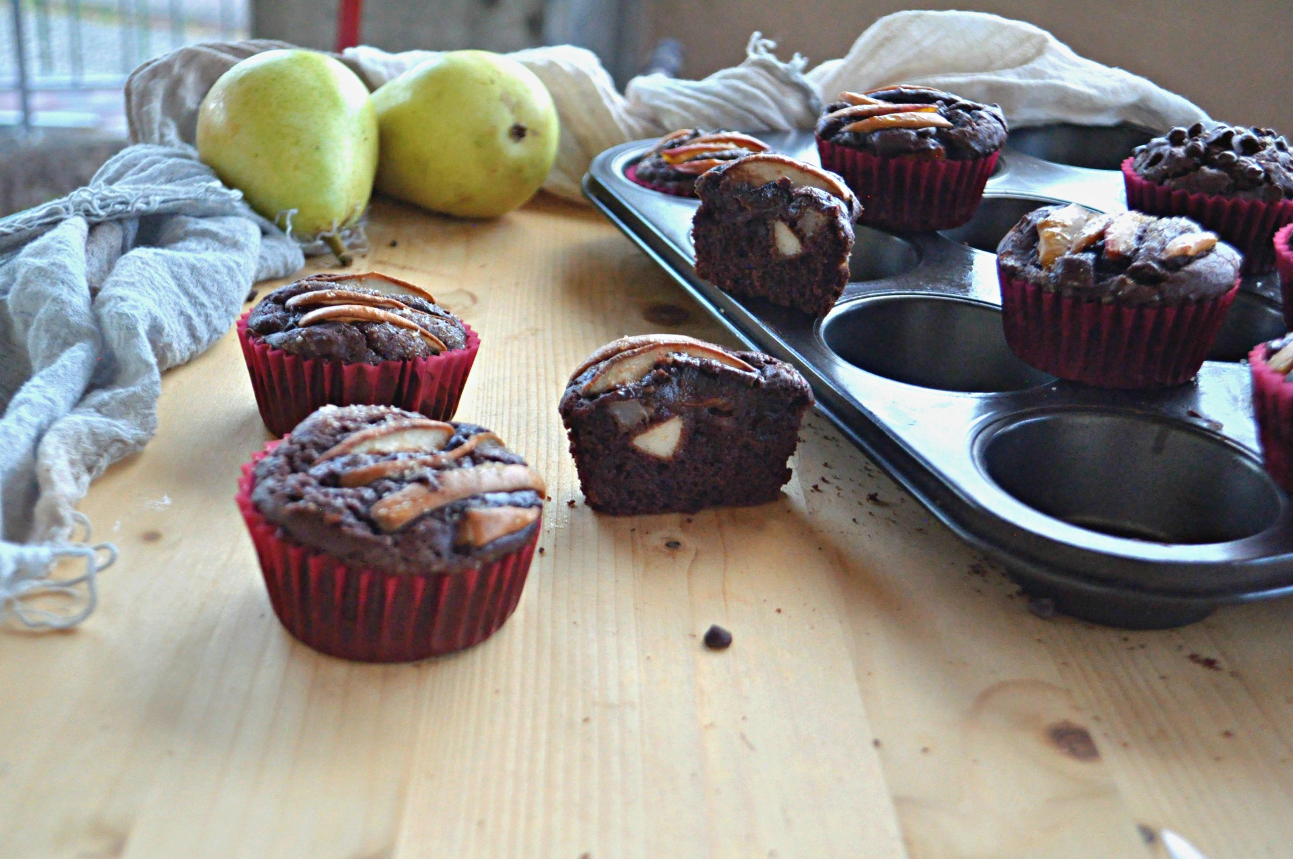 Muffin semplici pere e cioccolato