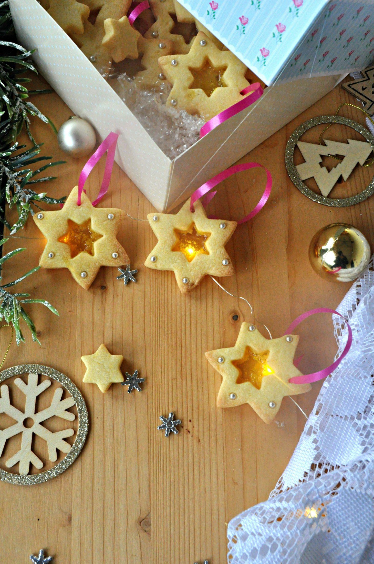 Biscotti stella cuore di vetro