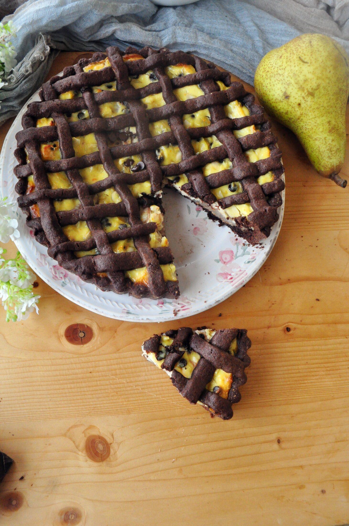 Crostata cioccolato ricotta e pere