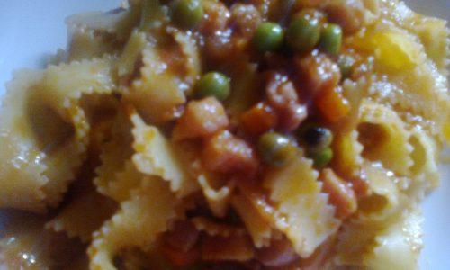 Reginette pancetta e piselli