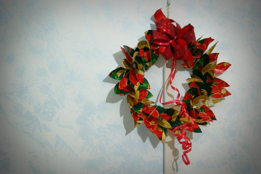 corona natalizia / riciclo creativo