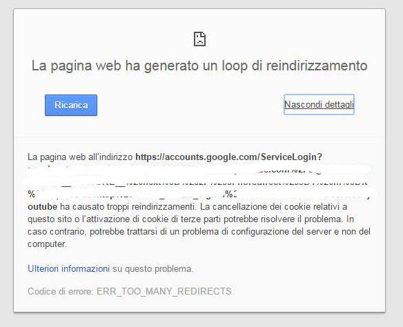 La pagina web ha generato un loop di reindirizzamento