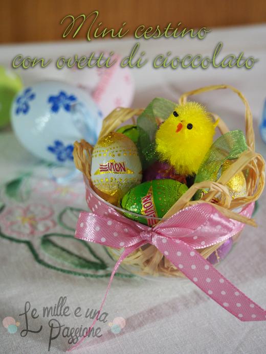 Mini cestino con ovetti di cioccolato