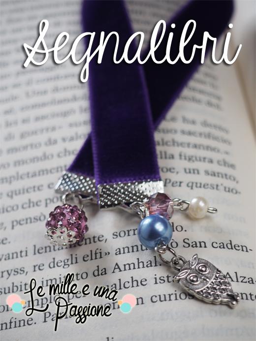 Segnalibro con velluto viola e charms