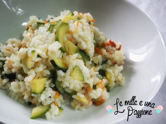 Riso con zucchine e fiori di zucca