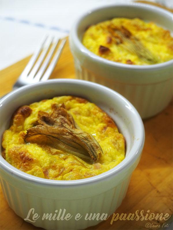 Tortini al forno con cotto e fiori di zucca