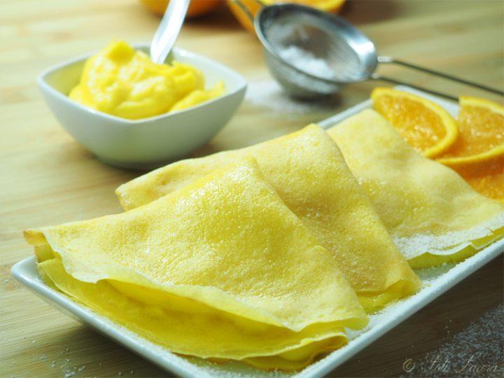 Crepes all'arancia con crema pasticcera all'arancia