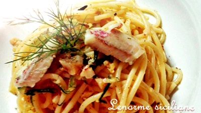 Spaghetti con le triglie, zucchine al profumo di aneto