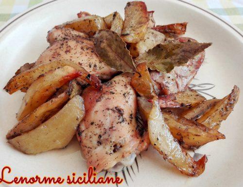 Pollo alla menta e alloro con contorno di patate rosse