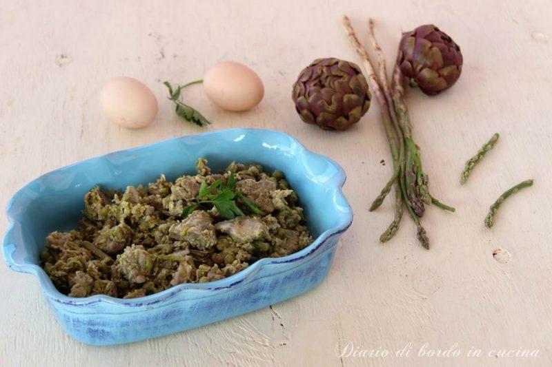 Agnello in fricassea con asparagi, carciofi e piselli