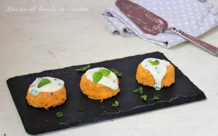 Tortini di zucca con fonduta di pecorino al basilico
