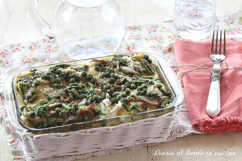 Lasagne con ricotta asparagi carciofi e piselli