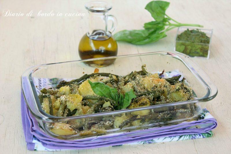Fagiolini patate e pesto gratinati